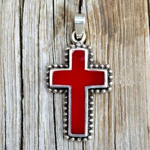 Vintage 925 Red Coral Inlay Cross Necklace Pendant